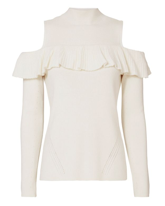 Exclusive for Intermix Kendall Ruffle Cold Shoulder Sweater