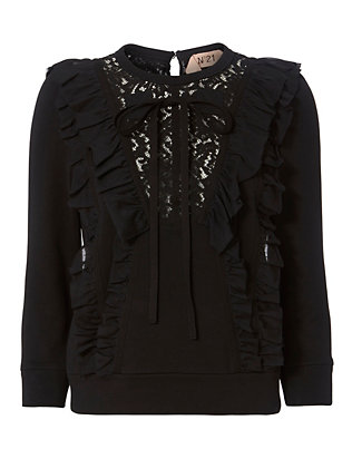 No. 21 Lace and Ruffle Sweatshirt