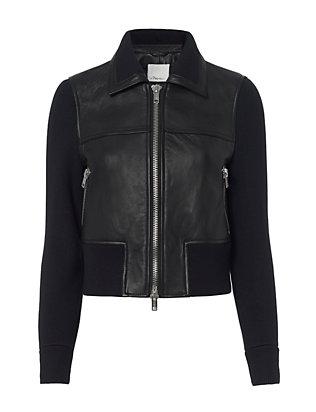 Knit Sleeve Leather Jacket