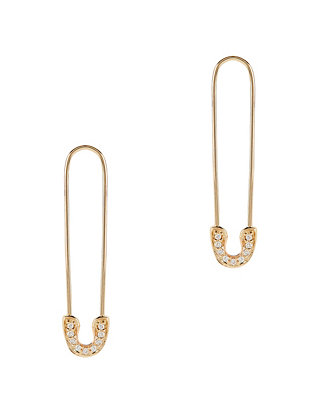 Pavé Diamond Safety Pin Earrings