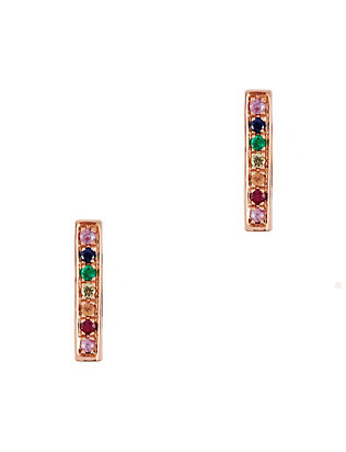 Rainbow Gemstone Bar Stud Earrings