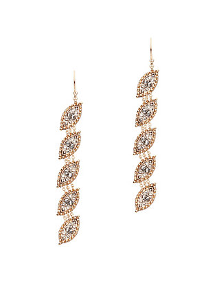 Miguel Ases Crystal/Pyrite Long Drop Earrings