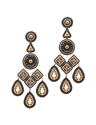 Miguel Ases Chandelier Earrings: Black/Gold