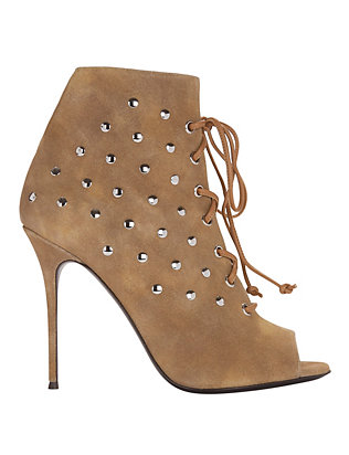 Studded Suede Lace-Up Open Toe Booties