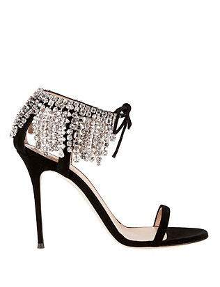 Mistico Crystal Peep-Toe Suede Sandals