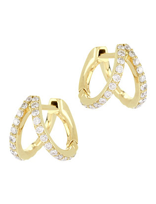 Gold Split Huggie Hoop Earrings
