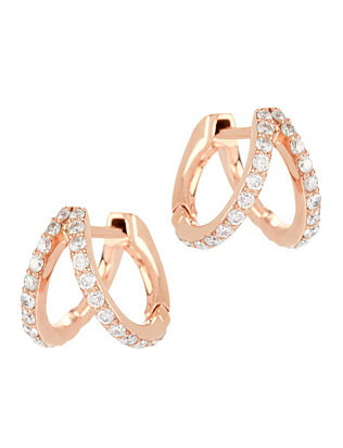 Rose Gold Split Huggie Hoop Earrings