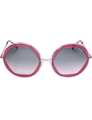 Emilio Pucci Metal Trim Round Sunglasses: Purple