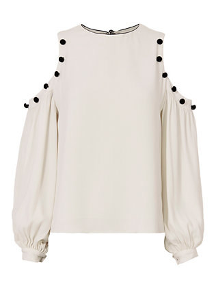 Alexis Erica Velvet Button Cold Shoulder Blouse
