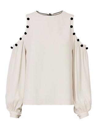 Erica Velvet Button Cold Shoulder Blouse