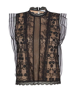 Alexis Essie Embroidered Floral Lace Top: Black