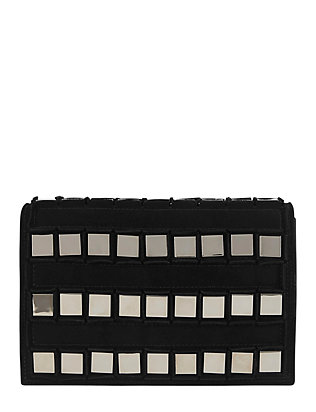 Tomasini Studded Flap Suede Clutch: Black