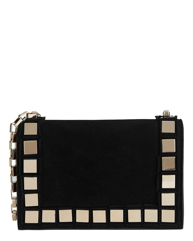 Tomasini Studded Suede Mini Shoulder Bag: Black