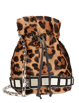 Calfhair Leopard Print Studded Pouch