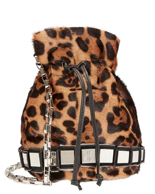Tomasini Haircalf Leopard Print Studded Pouch