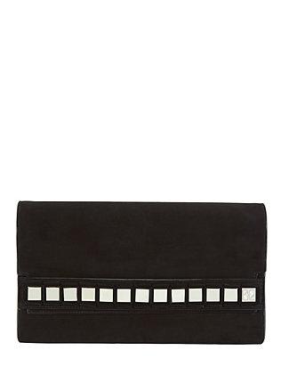 Studded Suede Flap Bag: Black
