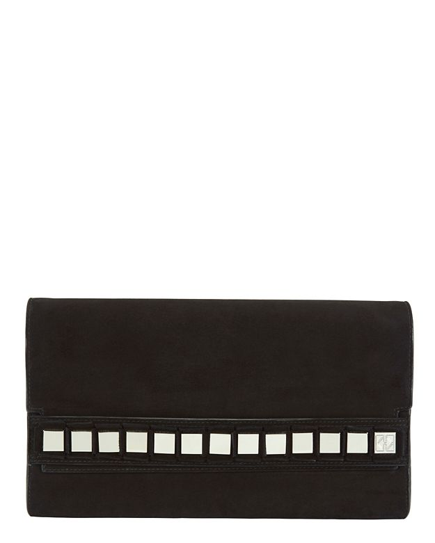Tomasini Studded Suede Flap Bag: Black