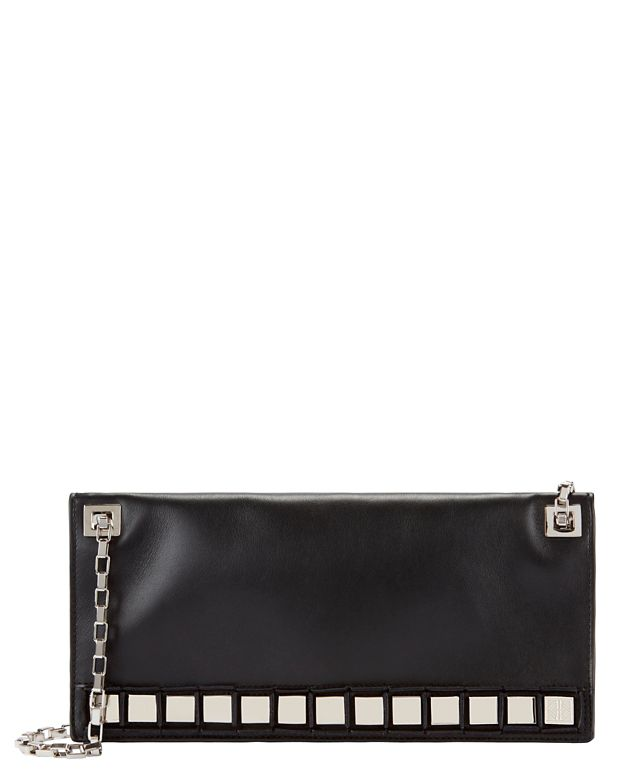 Tomasini Metal Detail Chain Clutch: Black