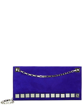 Suede Metal Detail Shoulder Bag: Electric Blue
