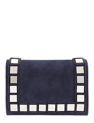 Studded Suede Flap Bag: Navy