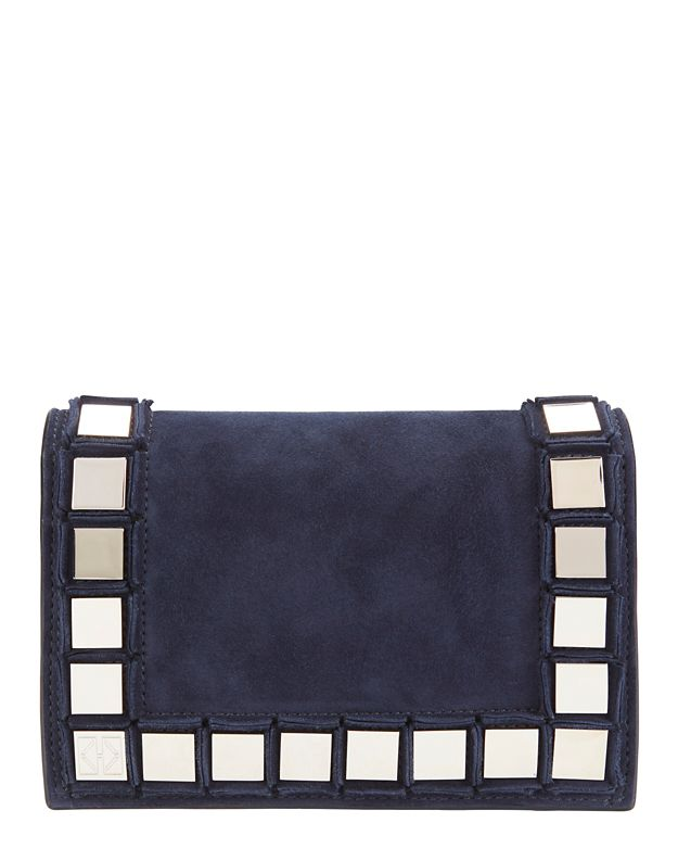 Tomasini Studded Suede Flap Bag: Navy