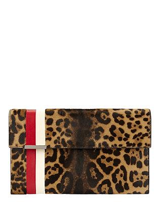 Calfhair Leopard Flap Stripe Clutch