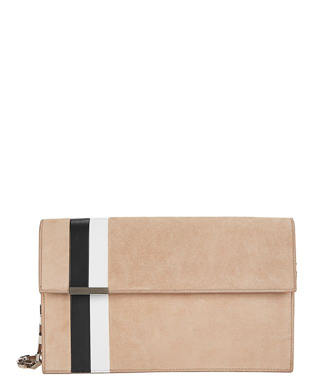 Tomasini Side Stripe Suede Shoulder Bag