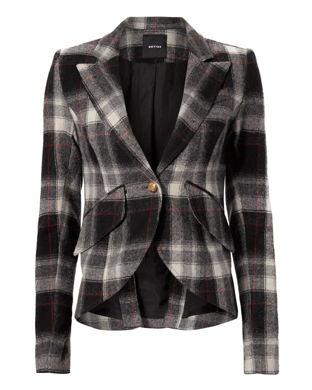 Smythe Elbow Patch Plaid Blazer