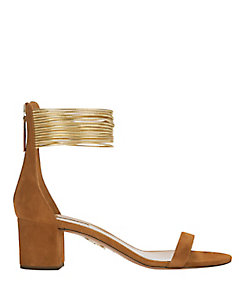 Aquazzura EXCLUSIVE Spin Me Around Suede Sandal: Brown