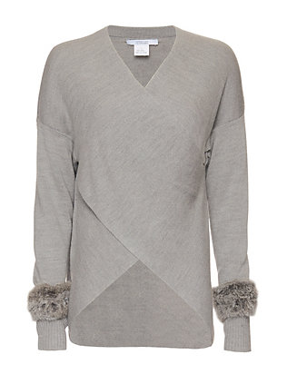 Derek Lam 10 Crosby EXCLUSIVE Fur Cuff Cross Front Sweater