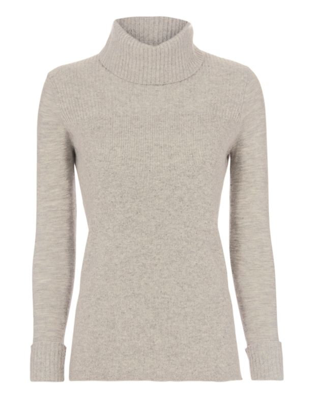 Veronica Beard Ribbed Bodice Turtleneck