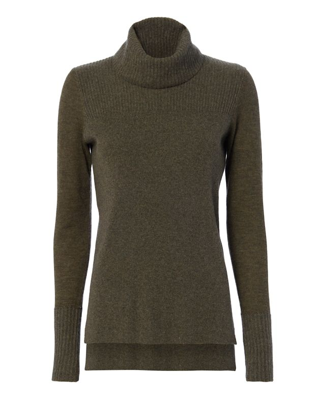 Veronica Beard Ribbed Turtleneck: Army