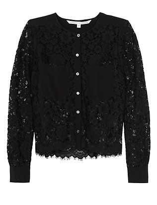 Veronica Beard Lotus Lace Combo Blouse