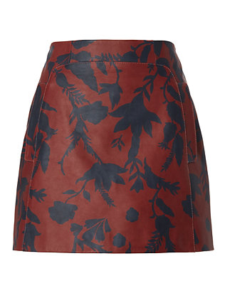 Stasha Printed Leather Skirt