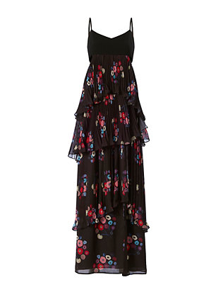Printed Pleat Chiffon Gown