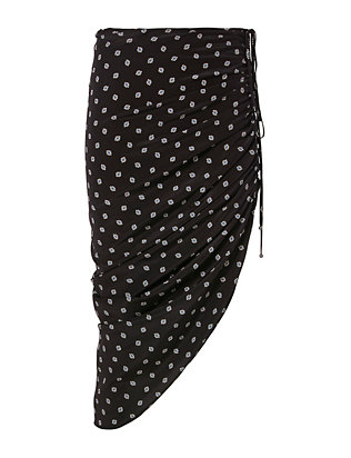Veronica Beard Ruched Drawstring Print Skirt