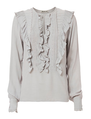 Katy Ruffle Bib Shirt