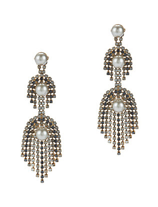 Elizabeth Cole Danica Pearl & Crystal Fringe Earrings