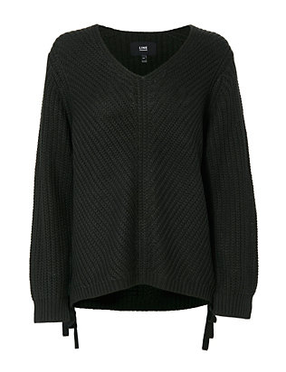 Lace Side V-Neck Sweater