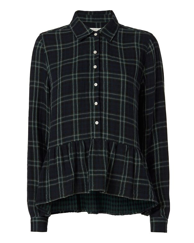 Birds of Paradis x Trovata Plaid Peplum Shirt
