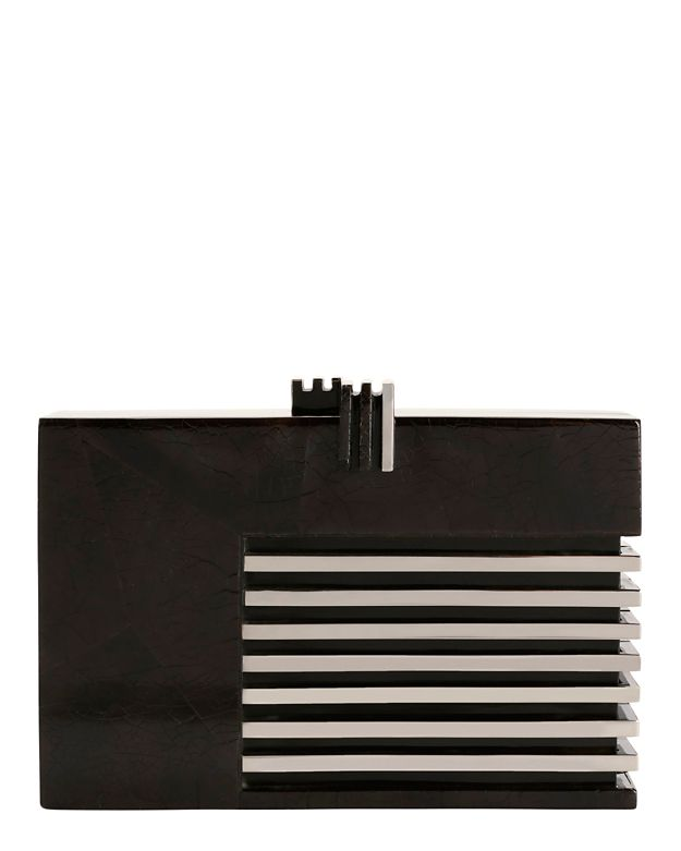 Nathalie Trad Stainless Steel/Black Resin Clutch