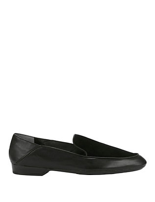 Fani Leather/Suede Loafers: Black