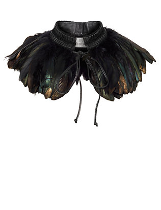 Rhodium Black Feather Collar