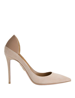 Aquazzura Fellini Blush Suede Patent Leather Pumps