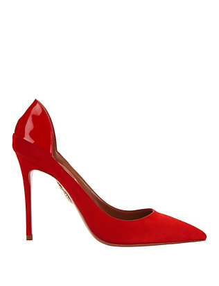 Fellini Red Suede Patent Leather Pumps