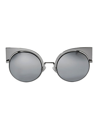 Fendi Black Mirror Round Sunglasses