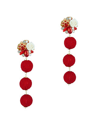 Mercedes Salazar EXCLUSIVE Fiesta Beaded Ball Earrings: Red