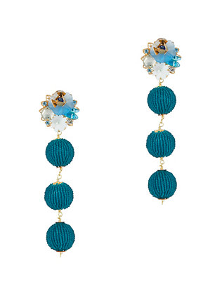 Mercedes Salazar EXCLUSIVE Fiesta Beaded Ball Earrings: Blue