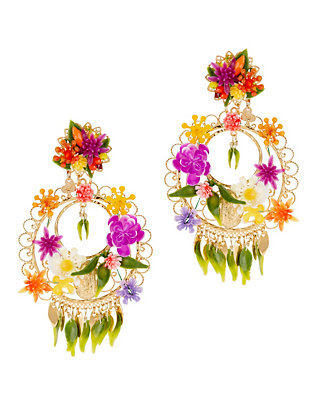 Fiesta Circle Floral Earrings