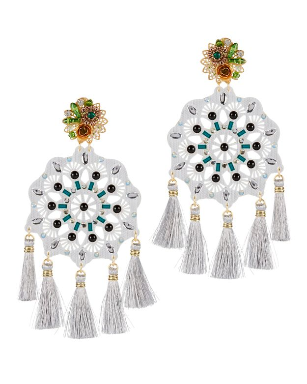 Mercedes Salazar Fiesta Large Grey Tassel Earrings